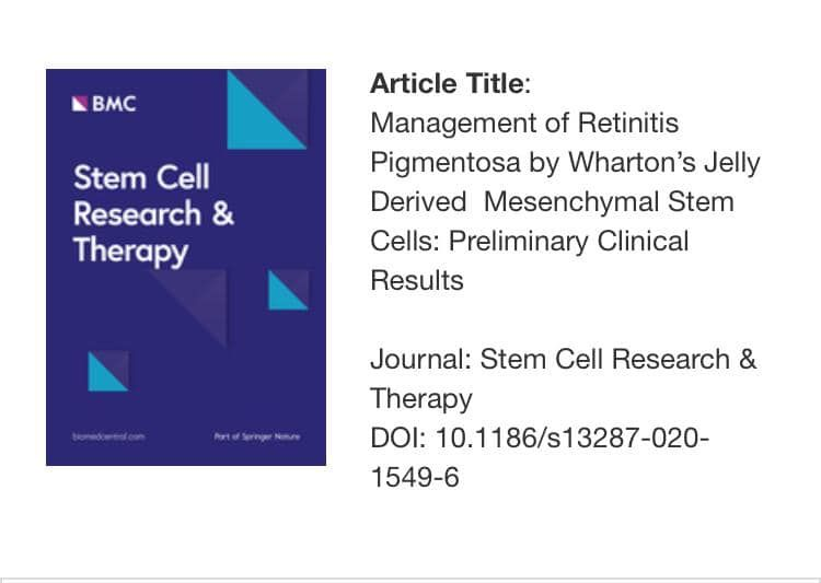 Management of retinitis pigmentosa by Wharton's jelly derived mesenchymal stem cells: preliminary clinical results.